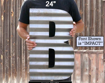 "Corrugated letter 12"" 18"" 24"" FAST SHIPPING Farmhouse Washroom Rustic Metal Letters recycled steel 11 13 14 15 Recycled Steel Custom Letter"