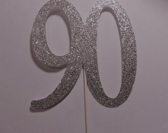 90th Happy Birthday Cake Topper, 90th Silver Happy Birthday, 90 Cup Cake Toppers, 90 Centerpieces,  Happy birthday Cake Topper,
