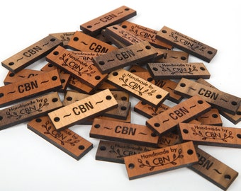 Solid wood tags for knit or crochet. Natural wood, maple, cherry, walnut thin buttons rectangle tags. NO Plywood or stain all natural wood