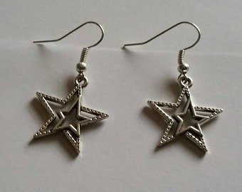 Double Star Dangle Earrings, Dangling Stars Hook Earrings, Star Earrings, Star Jewelry, Gift for Her, Statement Jewelry