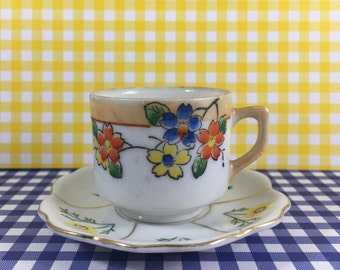 Vintage Demitasse Cup and Saucer, Occupied Japan, Floral, Blue, Yellow, Orange Flowers, Mid Century 1950s, Miniature Tea Cup, Cottage Chic