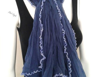 Mother stole shawl scarf neck scarf cheche cotton crumpled woman blue, scarf mid-season, gift idea, gift woman.