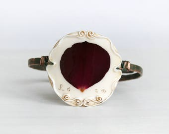 Real Flower Bracelet, Rose Bracelet,  Copper Bracelet, Vintage Bracelet, Hand Forged Bracelet, Rough Bracelet