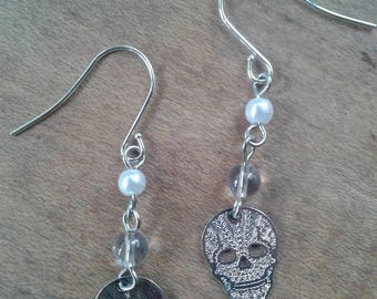 Skull Dangle Earrings Upcycled Glass Bead Sugar Skull Drop Earrings Silver Toned Costume Jewelry Halloween Goth