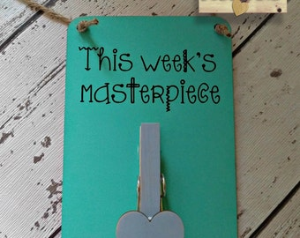 Children's Artwork Display Hanger - This Week's Masterpiece - School / Nursery artwork display Active