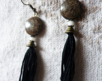 Ethnic dangling loops, Bronzite, black pompom