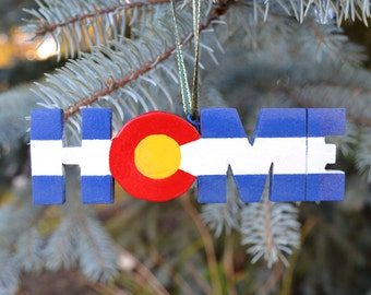 HOME,  Colorado Christmas Ornament. Wood and paint