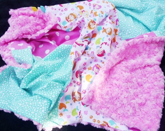 SALE-Baby girl minky patchwork blanket, pink dots, turquoise stars and sirens patterns, pink rose minky