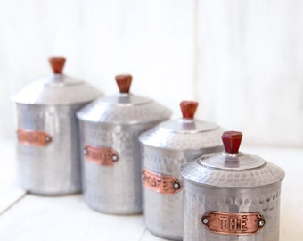 4 French Vintage Tin Canisters - Hammered Aluminum & Brass - Bakelite Tops - Free Shipping within the USA