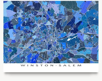 Winston-Salem Map Print, North Carolina City Map Art