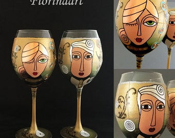 Wine glasses, Hand painted Glasses, Anniversary wine glasses