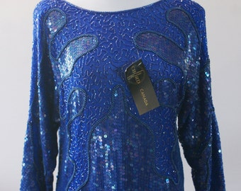 Chord Canada 80's Blue Silk Long Sleeve Top Beaded and Sequined Size Small Deadstock NWT BT-588