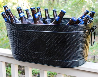 Personalized Black Galvanized Large Galvanized Drink Wedding, Birthday, Housewarming, Anniversary Party Beverage Tub