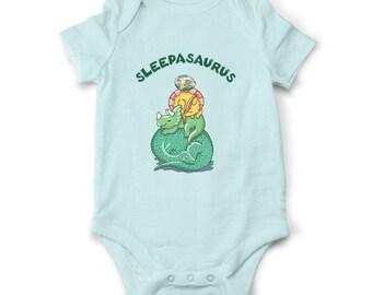 Sleepasaurus baby bodysuit, Dinosaur baby clothes, Funny baby onesie, Baby shower gift