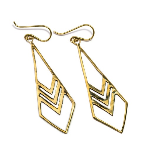 Arrow dangle earrings handmade, Brass Chevron earrings, Gift boxed, Free UK post BG2 * Also available in Gold Plated 3 Microns*