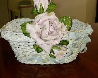 Wicker Basket with Rose and Rosebud Embellishment/Shabby Chic