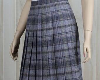 "1960's-70's The Edinburgh Woollen Mill,  Heather Purple Plaid Pleated 100% Wool Skirt, Size 16, Excellent Cond., 32"" Waist, 27"" Long."