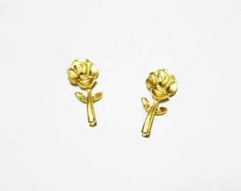 Gold Rose Stud Earrings 16K Gold Plated - Gold Earrings - Rose Earrings - Stud Earrings