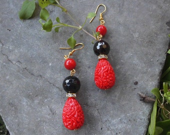 Red and black earrings,cinnabar earrings,carved earrings,dangle earrings,summer earrings,Red jewelry, mother's day gift, bijoux