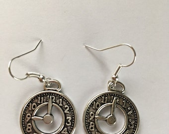 Clock watch alice inspired charm earrings. Gifts for her.