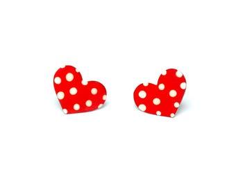 Hand Painted Enamel Heart Earrings, Stainless Steel, Romantic Jewelry for Her, Girlfriend Gift, Girlfriend Romantic Jewelry, Heart Studs