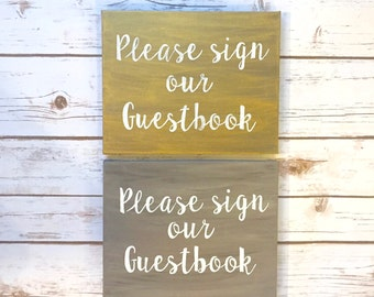 Gold or Brown Please Sign our Guestbook Sign / Wedding Guestbook Table / Welcome Table  / Rustic Wedding Decor