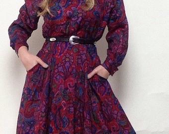 Vintage I.MAGNIN for 'Liz Claiborne' Purple Paisley Dress   High Collar   Button Up   Full   Boho