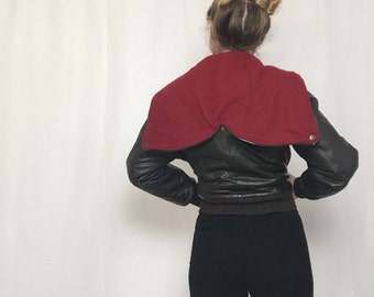 Vintage 1970's 'Calvin Klein' Green Leather Aviator Bomber Jacket | Red Zip Hood | Rare | Zip Down Hood