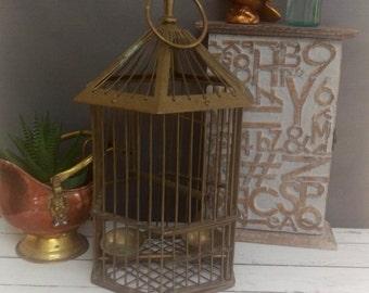Bird Cage/ Antique Bird Cage/ Bird Cage Centerpiece/ Bird Cage Decor/ Vintage Bird Cage/ Brass Bird Cage/ Bird Cage Wedding
