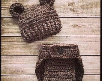 Baby Bear Hat and Diaper Cover Set ~ Photo Prop ~ Newborn ~ Baby Boy Girl Outfit ~ Pictures ~ Shower Gift Animal Woods Forest
