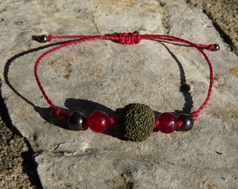 Bracelet beads 'Creativity', lava stone, Tourmaline, Hematite, Lithotherapy, aromatherapy, fragrance and essential oil diffuser