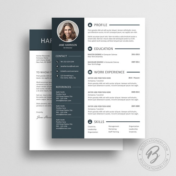 Resume Template 13 - Cover Letter Template - Word Resume Template - CV Template - Professional Resume Resume