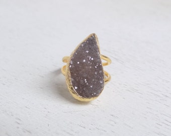 Brown Druzy Ring, Druzy Ring, Crystal Ring, Large Gemstone Ring, Gold Adjustable Ring, Statement Ring, Valentine's Day Gift For Her, D2-24