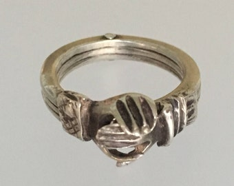 Vintage Sterling Silver Fede Gimmel Ring, Hands Clasped Secret Heart, Posy Wedding Band, Engagement Ring, Size 4