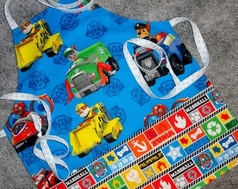 Paw Patrol Childrens Apron, Blue, Green, Yellow, Red, Childrens Adjustable Apron, Paw Patrol Characters, Apron with Pockets, Crafts Apron