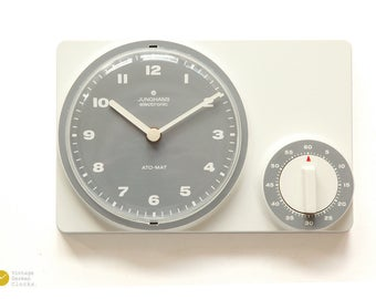 Minimal JUNGHANS Kitchen Wall Clock TIMER - Bauhaus Panton Space Age Modern Pop 70s 1970s Ato-Mat mcm Germany