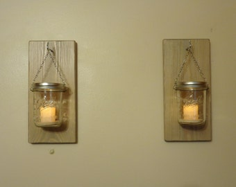 Sconces - LED Candle Holder - A Pair - Weathered Oak Finish - Hangers Installed