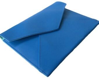 Sky Blue Faux Vegan Leather Foldover Envelope Slimline Clutch Evening Bag with Magnetic Fastener