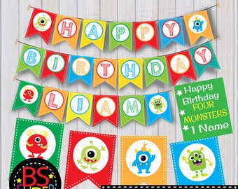 Monster Birthday Banner , Monster Birthday Party Banner , My Little Monster Party Custom Name Banner