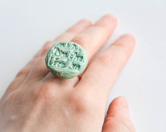 TURQUOISE STATEMENT RING, Chunky ceramic jewellery, Alice in Wonerland jewellery, Alice in Wonderland ring, Christmas gift for colleague