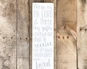 Dinner Prayer - Bless Us Oh Lord - Hand Painted Wooden Sign -  Wall Art - Home Decor - Kitchen Sign - Rustic Sign
