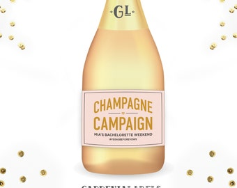 Champagne Campaign Mini Champagne, Bachelorette Party Favors, Unique Birthday Gift, Custom Mini Champagne Labels, Bachelorette Party Decor