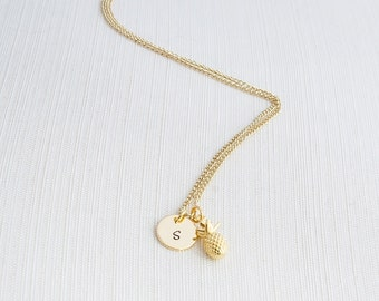 Gold Initial & Pineapple Necklace, Initial Jewelry, Gold Plated Disc Necklace, Gold Pineapple Necklace,  A great gift idea