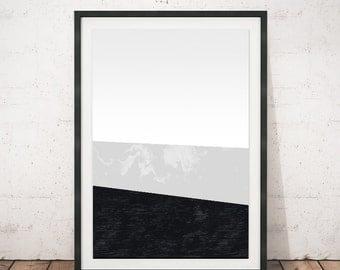 Scandinavian art, Modern house art, Chic decor, Monochrome poster, Abstract poster, Black and white, Print art, Wall art, Office decor, A4
