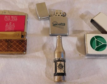 Vintage Lighters Pall Mall Train Bottle Continental Adco Snakeskin