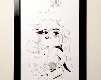 Legend of Zelda Windwaker Link & Fairy 11x17 Print