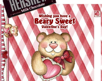 Printable Valentine's Day Candy Bar Wrappers 1.55 oz. Hershey's Milk Chocolate School Treats Teddy Bear Designs