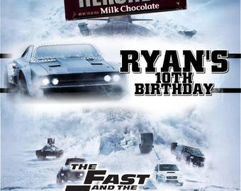 Printable The Fast and Furious 8 Party Candy Bar Wrappers 1.55 oz. Hershey's Chocolate Nestle Crunch Beach The Fate of the Furious