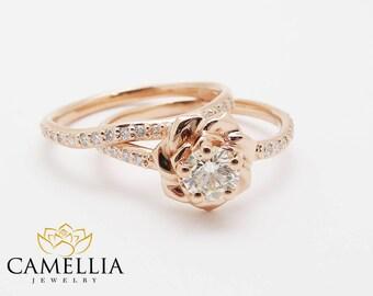 14K Rose Gold Diamond Engagement Ring Set Rose Gold 0.40 ct Diamond Flower Ring Flower Engagement Ring
