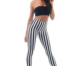 Carnival Leggings, Beetlejuice Stripes High Waist Tights, Printed White and Black Stripped Yoga Women's Legging